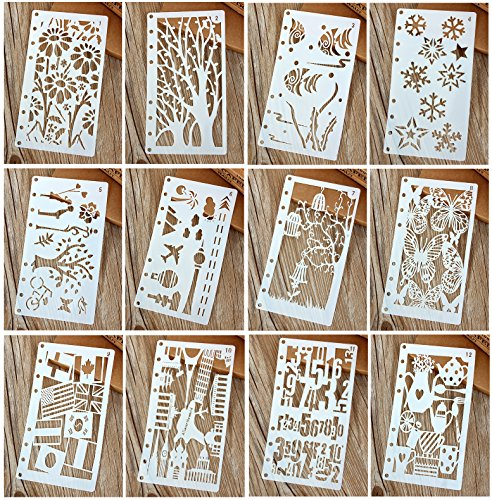 Stencil Leaf - 12 Pcs Drawing Painting Stencils Scale Template Sets for Loose Leaf A6 Bullet Journal Diary Notebook 8-Ring Paper Inserts,Perfect for Children Creation,Scrapbooking,DIY Albums,Card and Craft Projects