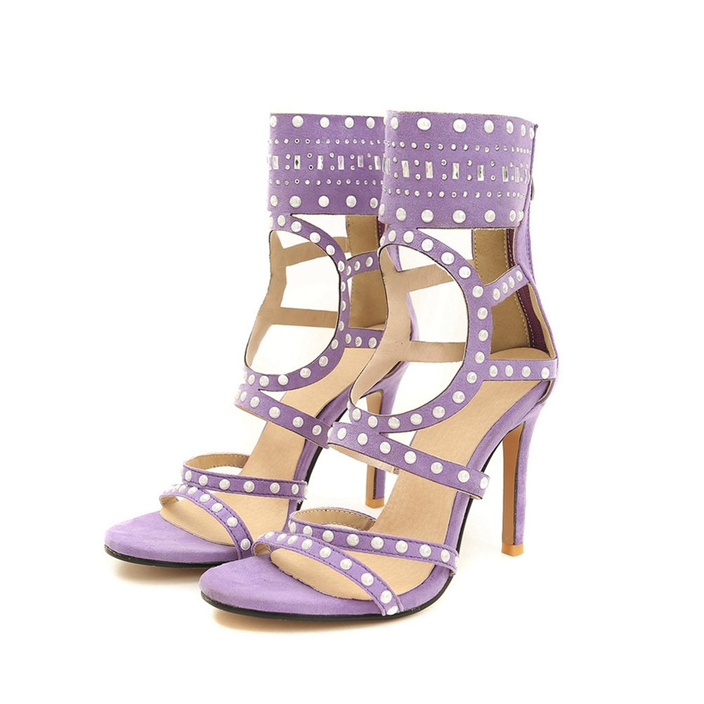Damen es High Heel Sandale-Offene Zehen Knouml;chel Stiefel-zuruuml;ck Zipper Heels Dress Shoes-Sexy Party Pump  40 EU|Lila