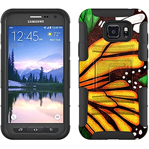 Samsung Galaxy S7 Active Armor Hybrid Case Butterfly Wing - Orange 2 Piece Case with Holster for Samsung Galaxy Sales