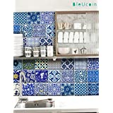 "India Jaipur Blue Pottery for Tile stickers Kitchen and Bathroom, Stair Riser Stickers, Peel & Stick Home 22 Designs (4"" x 4"" Inches (Set of 44))"