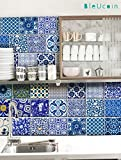 Kitchen Rugs Etsy Indian Jaipur Blue Pottery Tile Stickers for Kitchen and Bathroom Backsplash, Stair Riser Stickers, Peel & Stick Home 22 Designs (Pack of 44) (3
