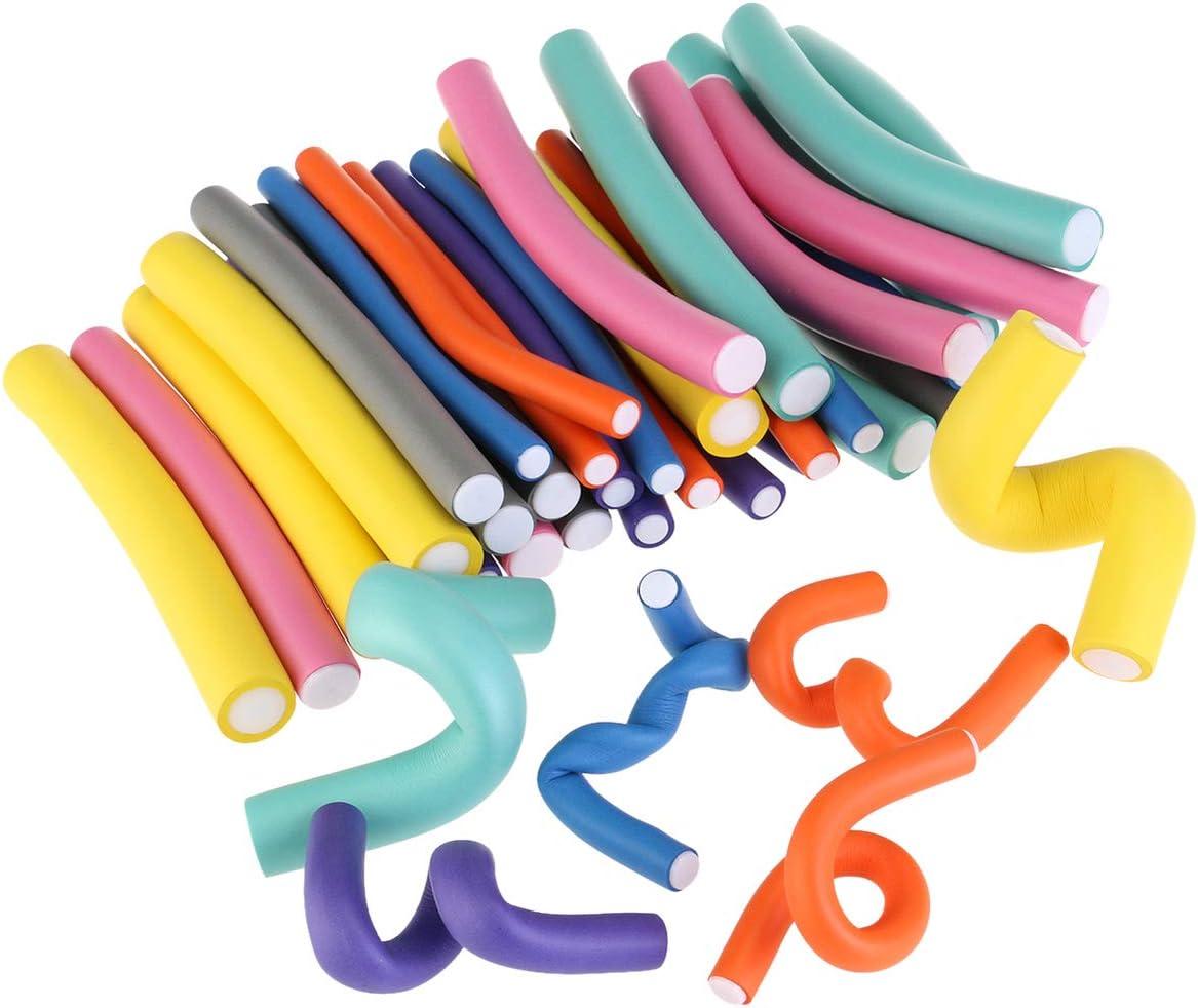 Beaupretty 42Pcs Espiral Rizador de Espuma de Pelo Rizado Conjunto de Rizos de Pelo Estilos de Cabello Rizado Flexible Fabricantes de Rulos de Giro Rizos Rizados Varillas Flexibles con Bolsa de Pvc