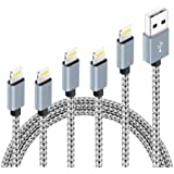 5Pack (3ft,3ft,6ft,6ft,10ft) Nylon Braided Charging Cord Charger Compatible with PhoneX/8/8Plus 7/7 Plus/6s/6s Plus/6/6…