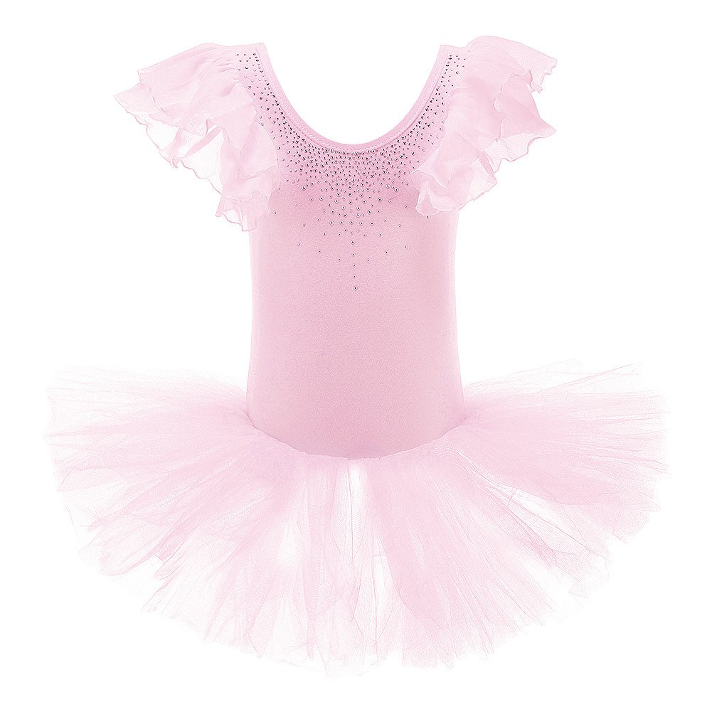 XTS Girls Rhinestone Ornament Tiered Ballet Tutu Dress Dancewear with Chiffon Sleeve