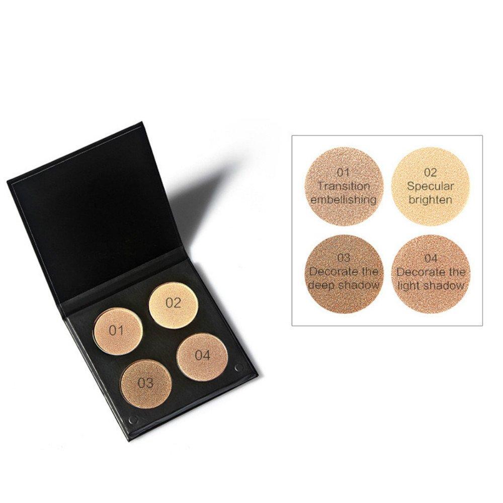 vinmax 4-Color Repair Capacity High-Pearl Powder Matte Powder,Powder Palette Cosmetics Cream Contour & Highlighting Makeup Kit 0.5 Oz-1#