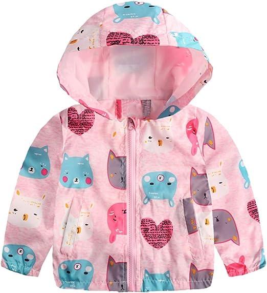 Zerototens Toddler Kids Cartoon Coat,1-6 Years Old Baby Girls Boys Long Sleeve Print Floral Hooded Jacket Tops Spring Autumn Windproof Windbreaker Childrens Clothing