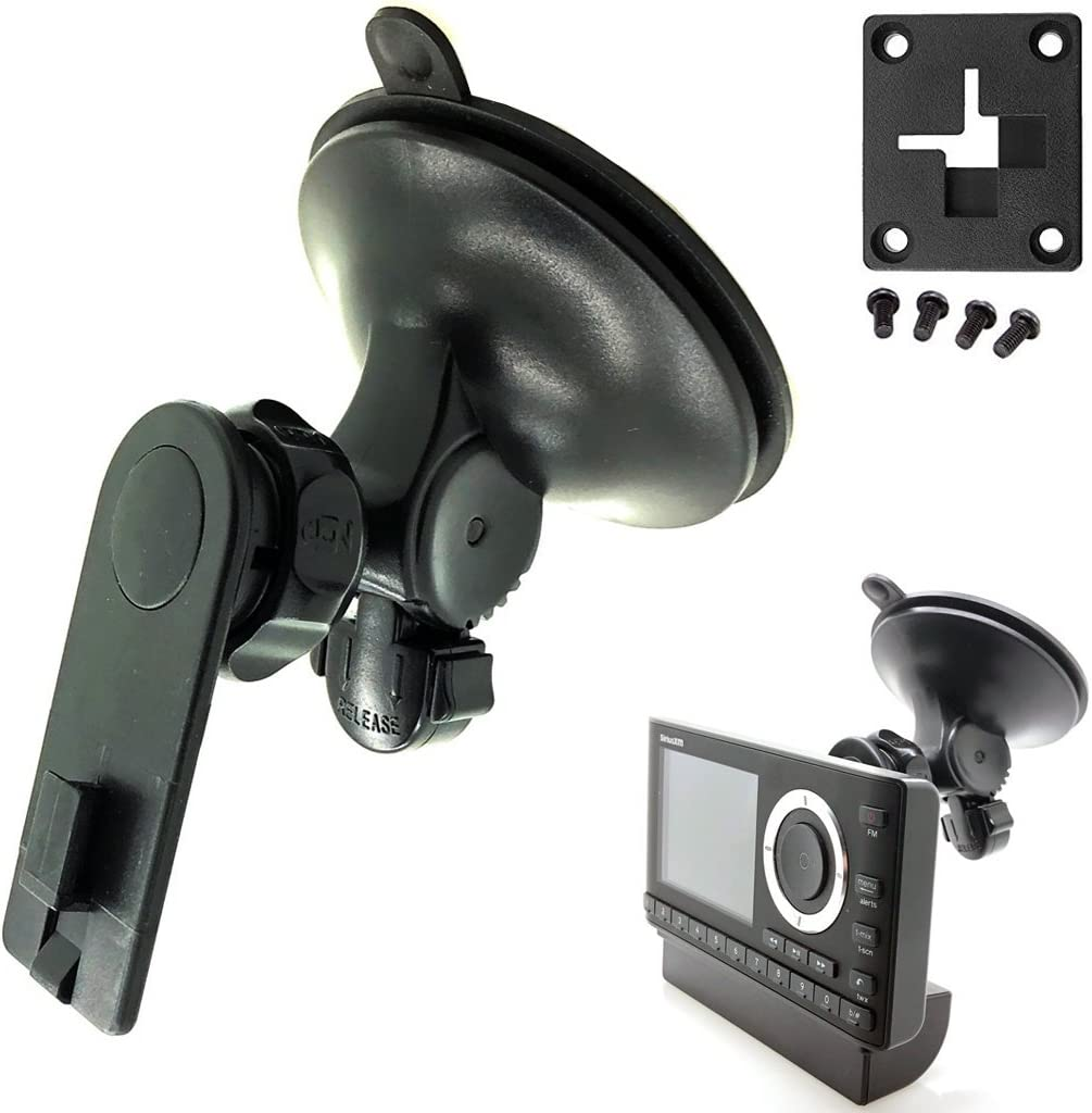 AccessoryBasics XT Sticky-Dash Windshield Suction Mount for Sirius XM Onyx Plus Starmate Stratus Roady Helix Lynx Satellite Radio w/Single T Delphi Skiff & 4 Hole AMPS Pattern (SiriusXM) C