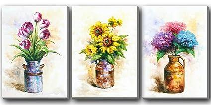 Hongwu Canvas Wall Art 3 Piece Vase Flowers Painting Canvas Prints Sunflower Tulip Hydrangea Floral in & Amazon.com: Hongwu Canvas Wall Art 3 Piece Vase Flowers Painting ...