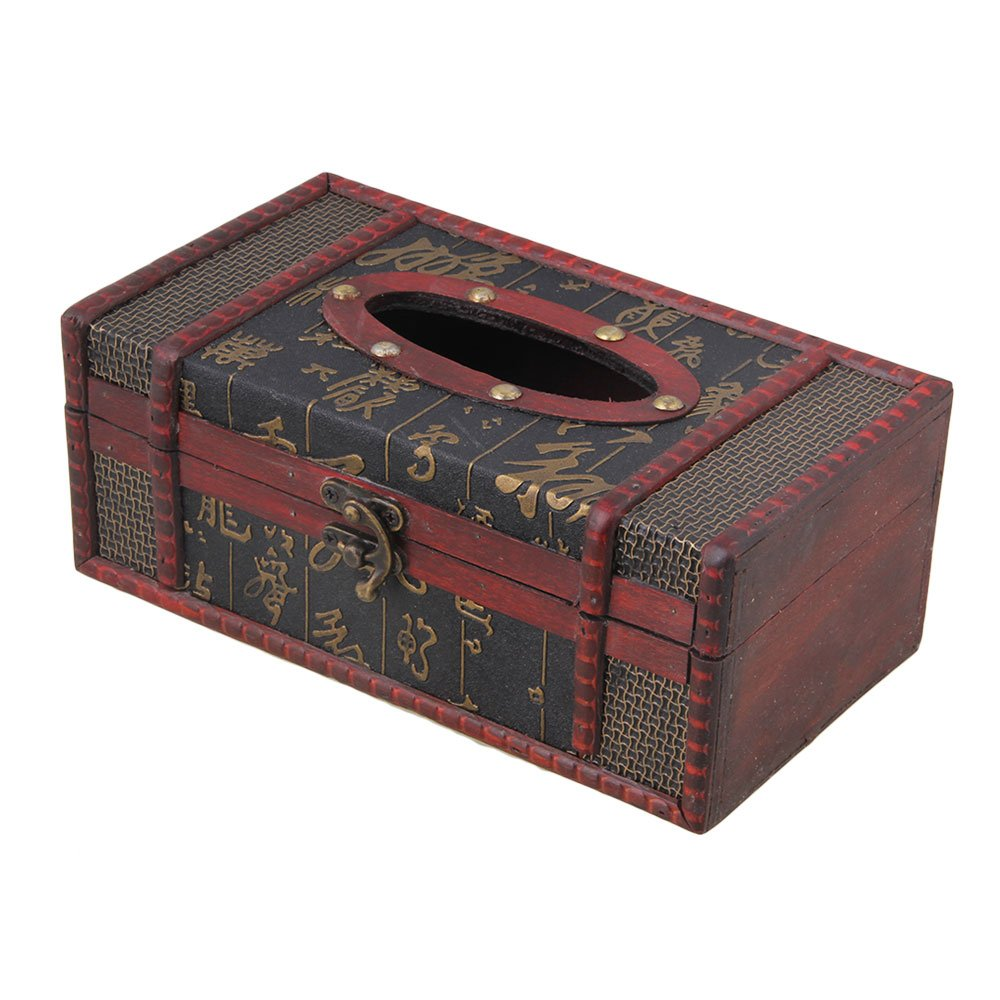 Mxfans 22x12x9cm Tissue Box Cover Chinese Character Pattern Napkin Holder Cover blhlltd