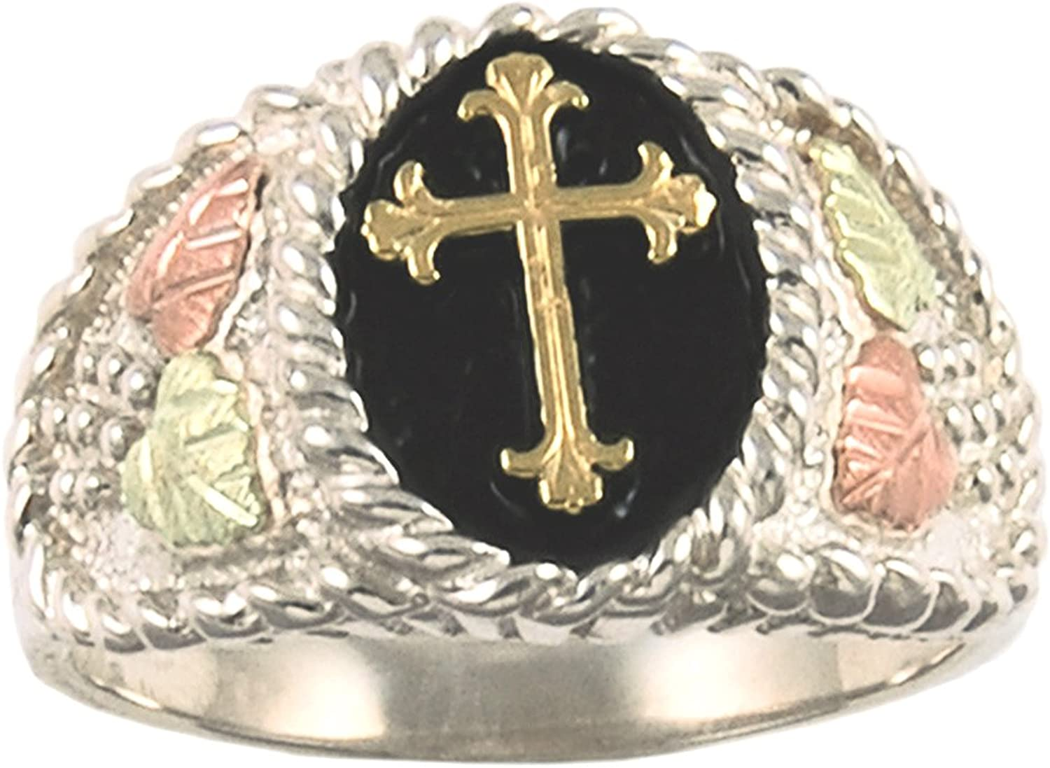 Men's Cross Ring, Sterling Silver, 10k Yellow Gold, 12k Green and Rose Gold Black Hills Gold Motif