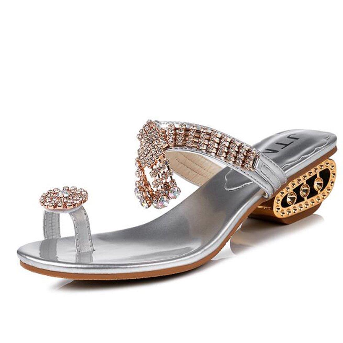 6afe78d0543c ZHONGST Frauen Sommermode Sandalen Frauen Temperament Hausschuhe Sandalen  36 Silver