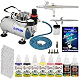 Master Airbrush Brand Finger Nail Decorating System. 2 Airbrushes, Air Compressor, Stencil Set of Over 100 Designs, 6' Hose, Airbrush Holder, 3 Quick Couplers, Black, Red, White, Blue, Yellow & Pink Nail Paint Kit in 1-oz Bottles, Airbrush Cleaner, & (Free) How to Airbrush Training Book to Get You Started.