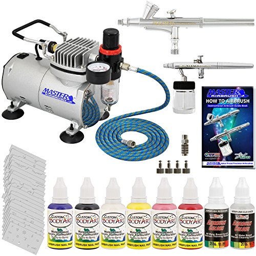 Master Airbrush Brand Finger Nail Decorating System. 2 Airbrushes, Air Compressor, Stencil Set of Over 100 Designs, 6' Hose, Airbrush Holder, 3 Quick Couplers, Black, Red, White, Blue, Yellow & (Nail Master Stencil)