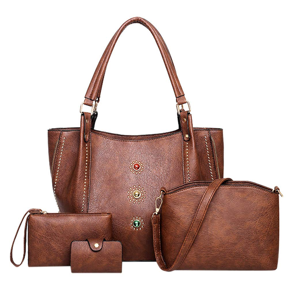 Brown 4Pcs Ladies Briefcase Bag Lychee Texture Side Zipper Surface with colord Pearl Shoulder Bag Classic Retro Work Commute Ladies Handbag Messenger Bag Clutch Bag Card Package (Brown)