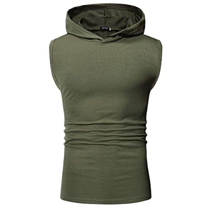 d9c092140a0b8 Image Unavailable. Image not available for. Color  Mens Active Slim Fit  Tank Top Sleeveless Hoodie Lightweight Basic Designed