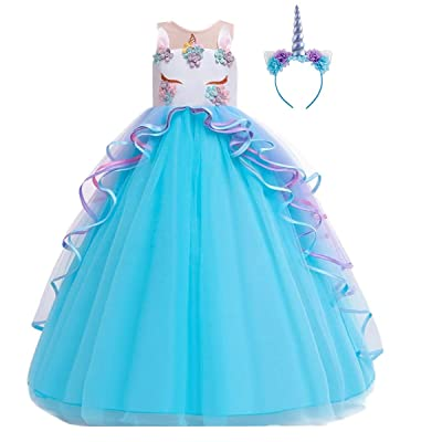 MYRISAM Unicorn Costume Princess Birthday Pageant Party Dance Performance Carnival Long Maxi Tulle Fancy Dress Up Outfits: Clothing