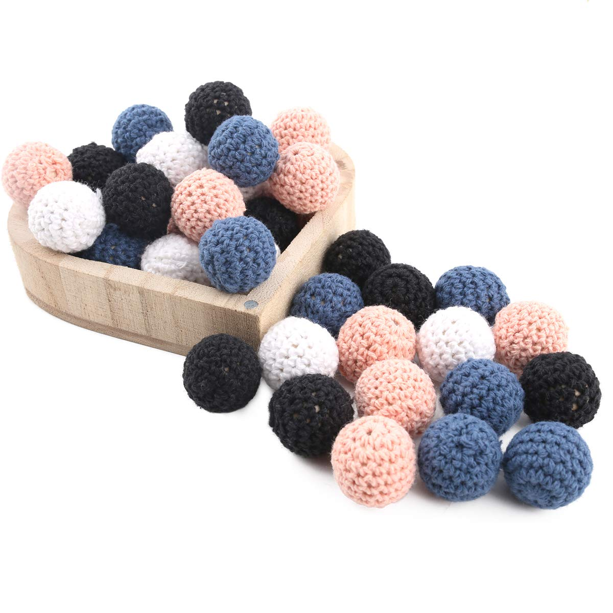Baby Love Home DIY Teether Toys Wooden Crochet Beads Round Beads 20mm 50pc Nursing Necklace Bracelet Jewelry Accessories Handmade