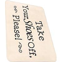 BESPORTBLE Entryway Door Mat Washable Area Rug Please Take Your Shoes Off Mat Simple Letter Floor Rug Outdoor Indoor…