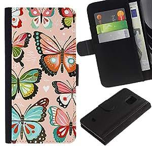 Planetar® Modelo colorido cuero carpeta tirón caso cubierta piel Holster Funda protección Para Samsung Galaxy S5 Mini / SM-G800 (Not For S5!!!) ( Pink Hearts Love Butterflies Teal )