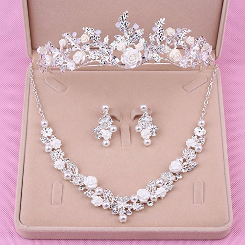 Bridal Semi Set - Quantity 1x new_ Korean bride s_ Headdress _three_piece_ Crown Tiara Party Wedding Headband Women Bridal Princess Birthday Girl Gift necklace earrings set Wedding jewelry yarn _in_2017