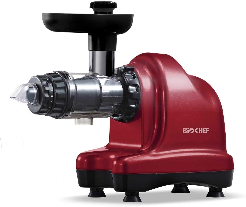 Extractor de zumo BioChef Axis Cold Press Juicer – Extractor de mascarilla horizontal para hierba de trigo, frutas y verduras con una gran apertura y 20 años de garantía (rojo)