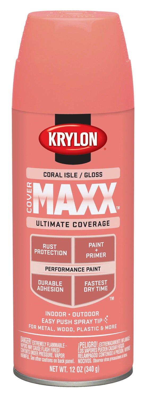 Coral Pink Spray Paint Part - 18: Krylon K09115000 COVERMAXX Spray Paint, Gloss Coral Isle, 12 Ounce - -  Amazon.com