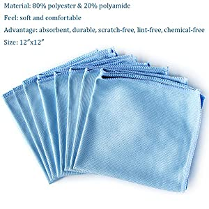 "Microfiber Glass Cleaning Cloths, AutoCare Glass Cleaning Cloths for Eyeglasses Car Windows Mirrors Computer Screen TV Tablets Camera Lenses Chemical Free Lint Free Scratch Free (12""x12"", Blue 8 Pack)"