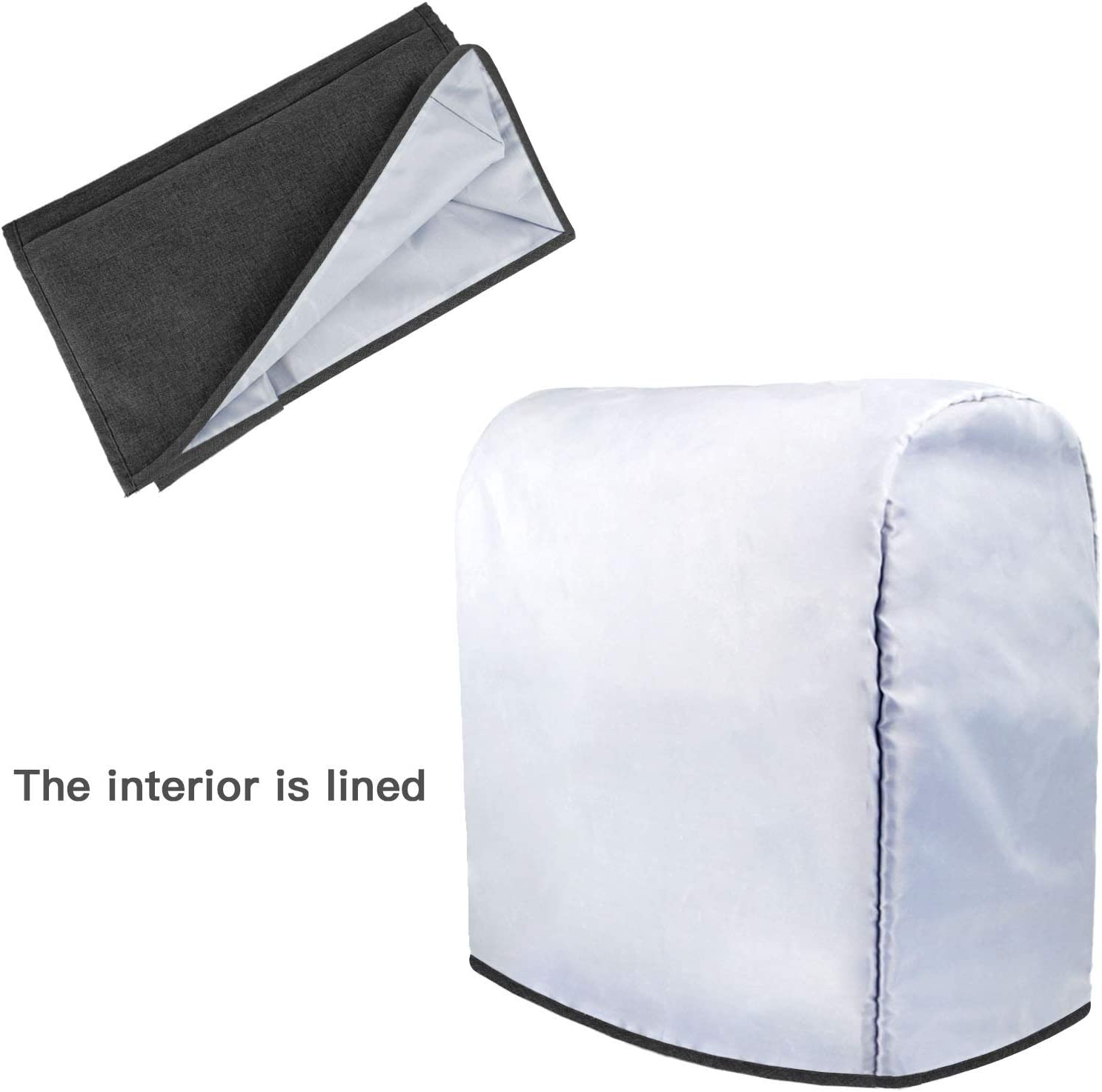 Cloth Cover with Pockets for Extra Attachments Homai Dust Cover Compatible with 6-8 Quart KitchenAid Mixer Black