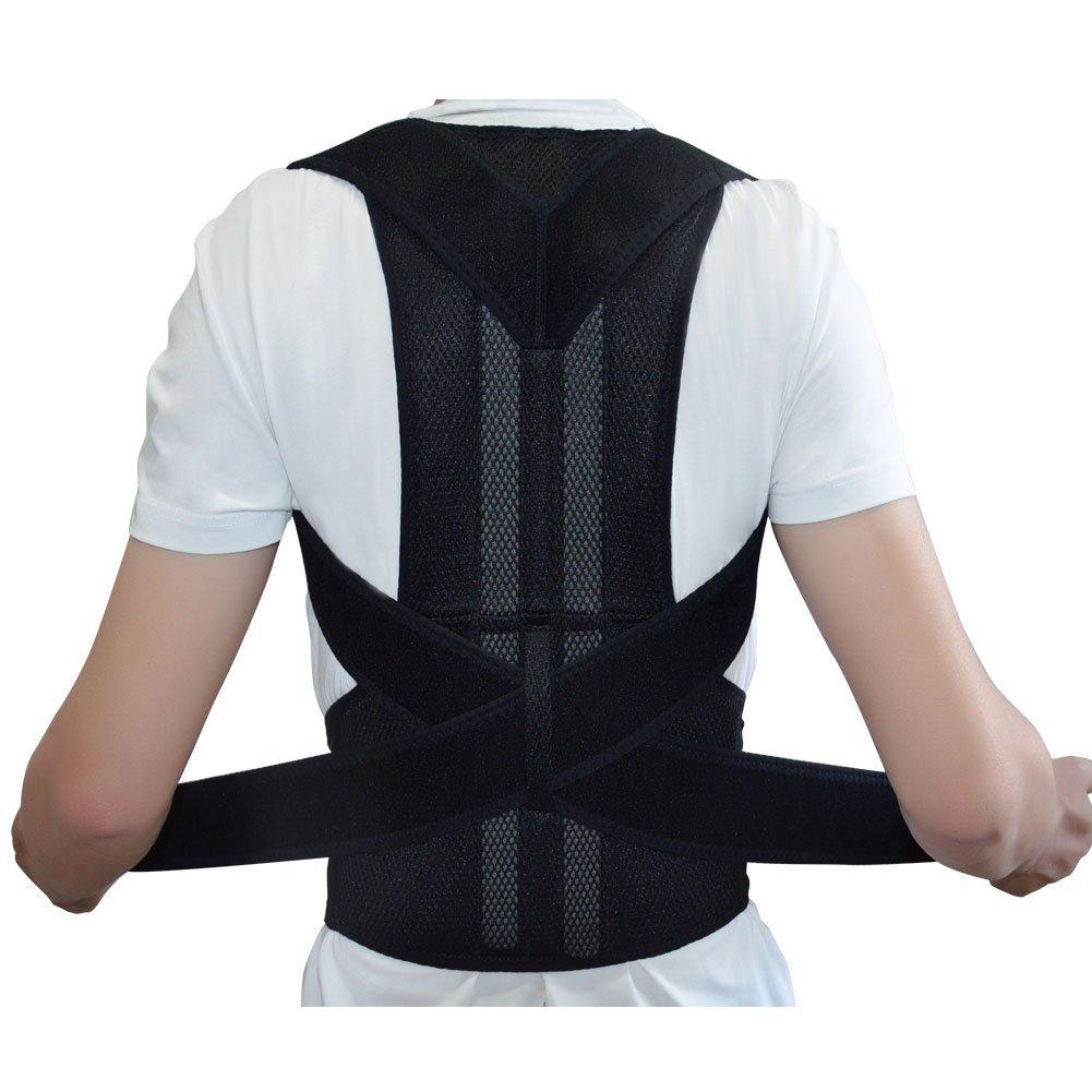 Adjustable Posture Corrector Back Support Shoulder Brace Belt for Men Women Black-Unisex ( S-XXL) (XXL, Black)