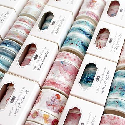 JSGDJD Cinta 7 cajas 3 unids/pack Sakura Cloud Van Gogh Cinta Adhesiva Washi DIY