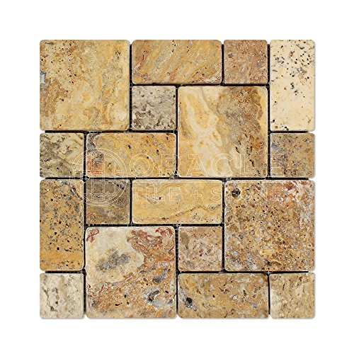 Scabos Travertine 3-Pieced Mini-Pattern Mosaic Tile, Tumbled - 6 X 6 -