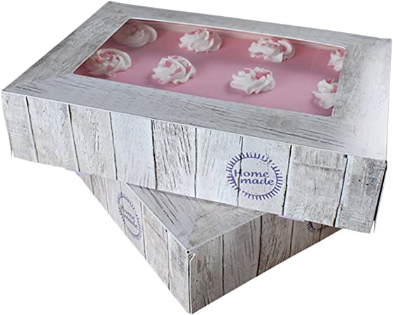 FunCakes - Caja para cupcake o pastel, cuadrada, transporte ...