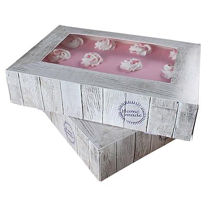 FunCakes - Caja para cupcake o pastel, cuadrada, transporte, madera, Kuchenschachtel,
