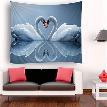 YINGBAOBAO Tapices Personalizados Dos Cisnes Impresiones Digitales Decoración para El Hogar Sábanas Reuniones Al Aire Libre 150×230Cm: Amazon.es: Hogar