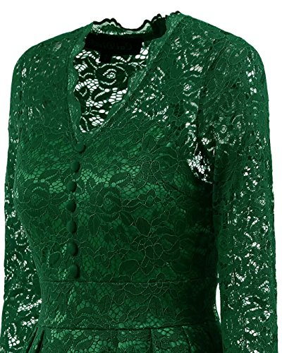 Verde '50 Donna Abito Anni Cocktail Elegante Ginocchio Festa Gown S Vintage Vestito Taglia Beijg xxl Ball Da Al Jcl31TFK