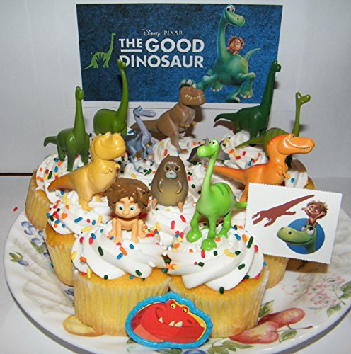 Disney The Good Dinosaur Movie Figure Set Kit of 14 Deluxe Mini Cake Toppers Cupcake Decorations Featuring Arlo and Family, Spot, 3 T-Rex Etc, Tattoo Sheet and a Dino ToyRing!