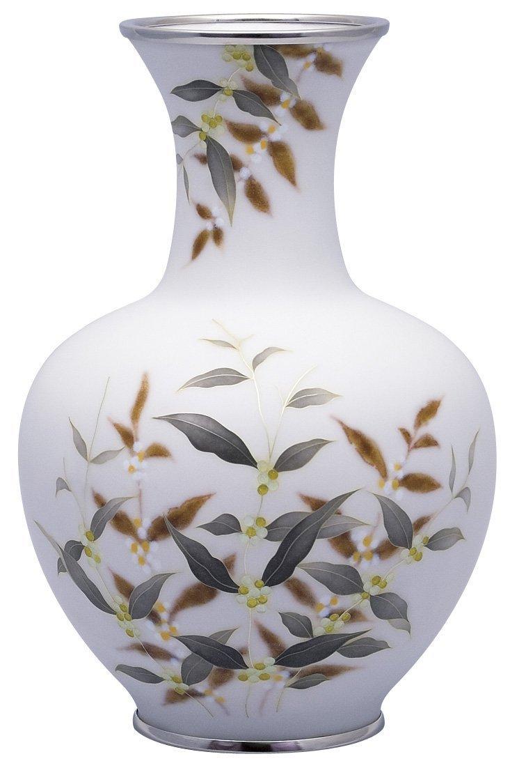 七宝焼 田村 丈雅 作 90号かぶら型白磁式部花瓶 110-12 B0769C6MLY