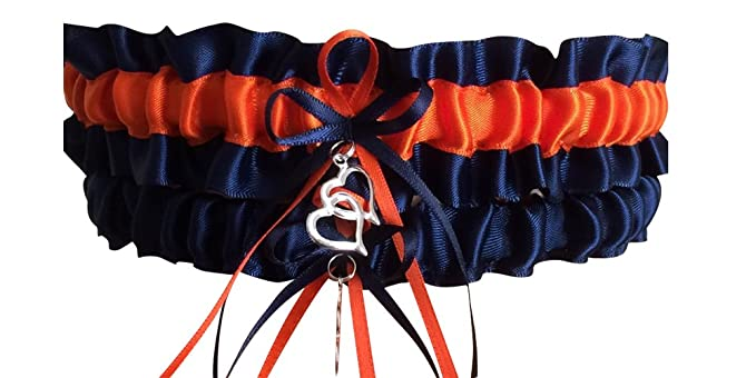 1d01023b395 Amazon.com  Navy Blue and Orange Wedding Garter Set