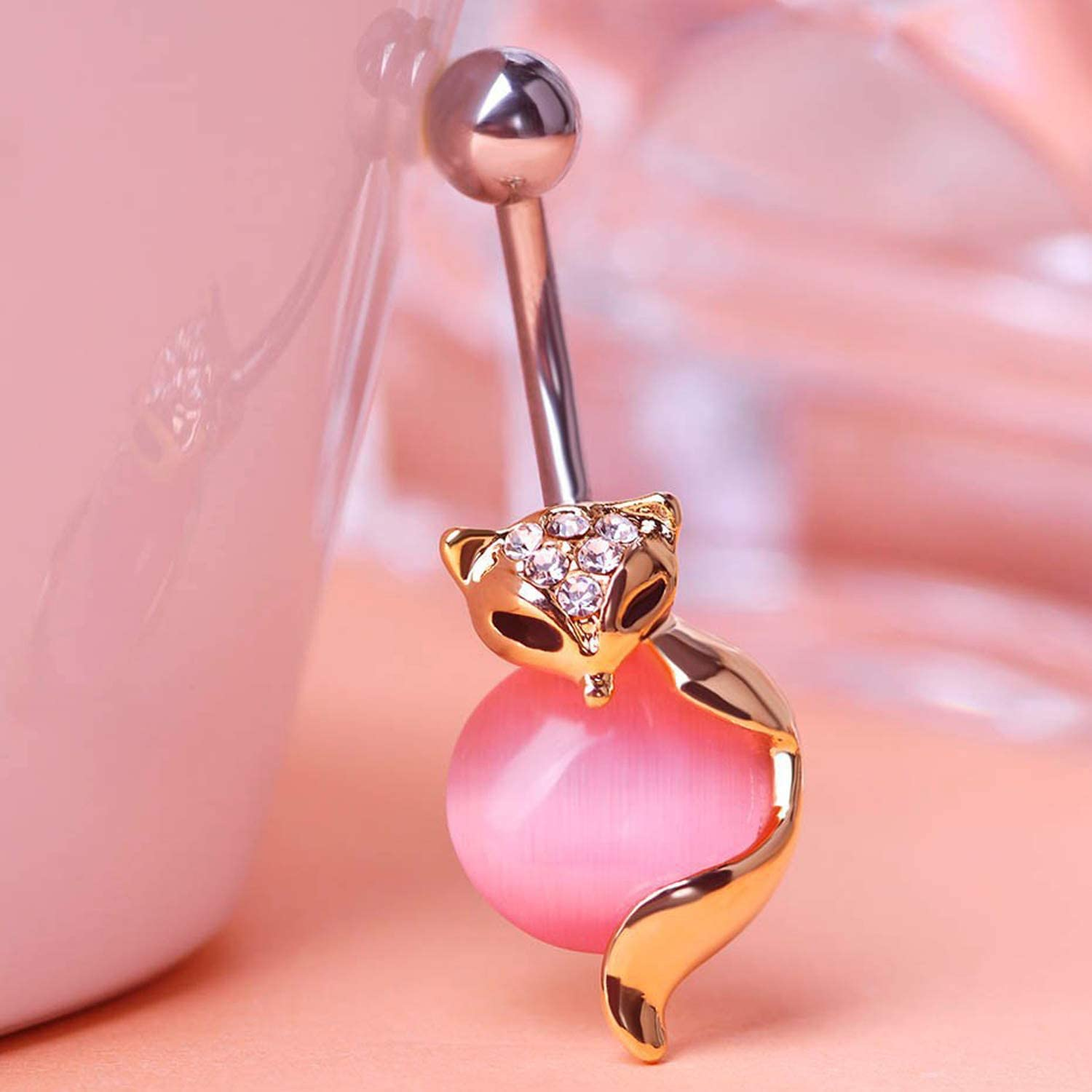 TinCiy 14G Surgical Steel Belly Button Rings Fox on Gem Ball Navel Body Piercing Jewelry