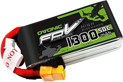 OVONIC FPV LiPo bater/ía 14.8V 1300mAh 50C 4S Paquete con Conector XT60 para Nemesis 240 Mini Tweaker 180 Micro Quad LRC Estilo Libre RC Heli Avi/ón Drone FPV Quadcopter