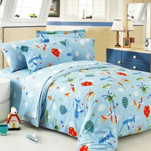 Small Flying Dream Duvet Cover Set Sky Blue Boys Bedding Kids Bedding, Full (Planes Full Size Bedding Set)