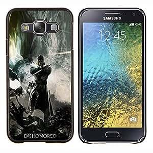 KLONGSHOP // Cubierta de piel con cierre a presión Shell trasero duro de goma Protección Caso - DESHONRA GAMING HÉROE - Samsung Galaxy E5 E500 //