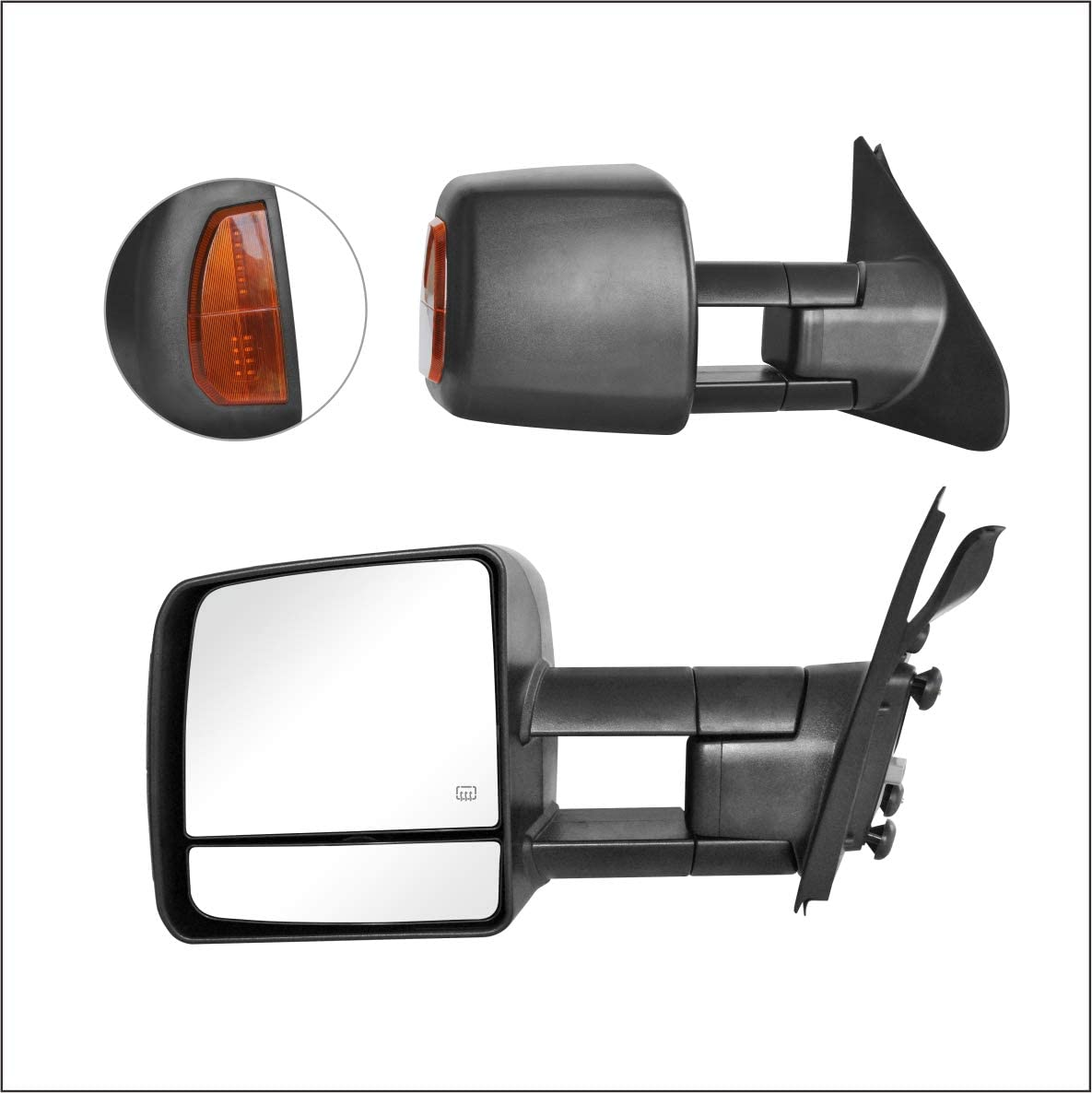 SEQUOIA Perfit Zone Towing Mirrors Replacement Fit for 2007-2017 TUNDRA POWER HEATED,W//AMBER SIGNAL,BLACK PAIR SET