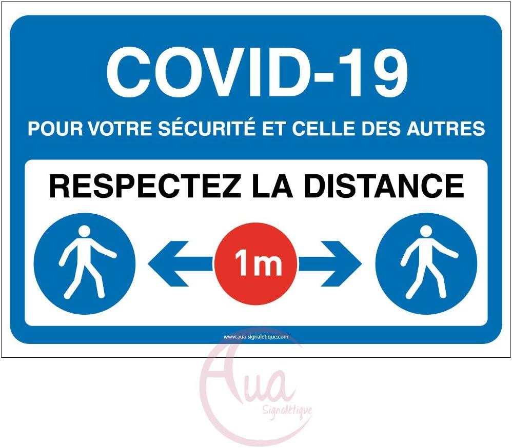 600x420 mm Bleu Panneau de Signalisation COVID-19 respectez la Distance 1 m avec Pictogramme ISO 7010 AUA SIGNALETIQUE Vinyl adh/ésif
