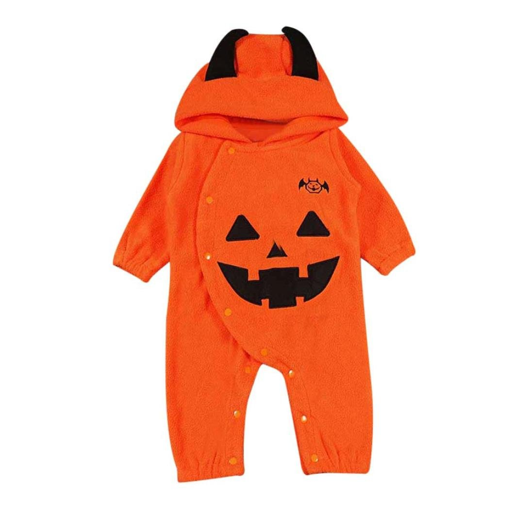 Manadlian Body Bebe Fille Garcon, Bébé Garçons Filles Halloween Citrouille Capuche Costume Rayée
