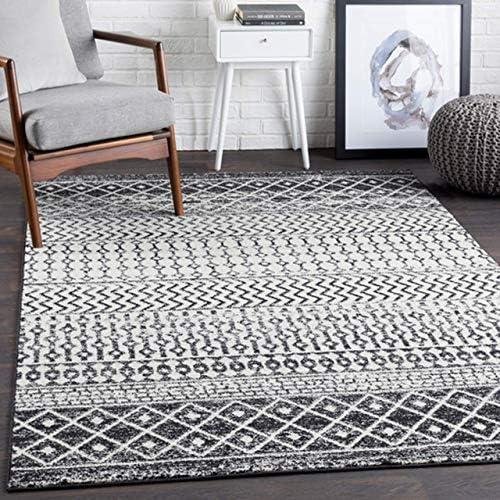 Constantinople 9 x 12 6 Moroccan Bohemian Pattern – Farmhouse Area Rug – Rectangle – Polypropylene – Black, Light Gray, Medium Gray, White