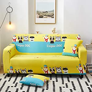 TSSCY Cute Dogs High Stretchy Sofa Cover, Universal Couch Cover Soft Sofa Slipcover Durable Sofa Protector Anti-Slip Sofa Covers-i 2 Seater/loveseat