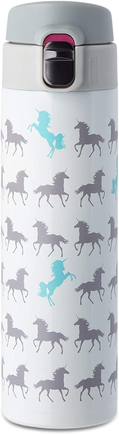 L LIFETIME Unicorn Water Bottle Stainless Steel, White Unicorn Figures Design for Kids Girls Teens Tween Adult Cold Hot Leak-Proof Lock Lid No Straw Insulated Dishwasher Safe
