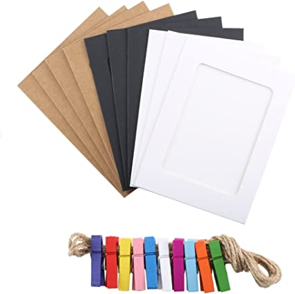 Pulluo 10pcs Hanging Paper Photo Frame 3 Colours Cardboard Picture Frames Display With Mini Wooden Multicolor Clips 2 5m Twines Fits 4x6 In Pictures Diy Craft Wall Room Decoration Amazon Co Uk Kitchen Home