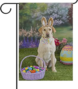 Garden Yard Flag Spring Yellow Labrador Dog Bunny Banner House Home Decor 28 x 40 inch Easter Basket Eggs Large Decorative Double Sided Welcome for Holiday Wedding Party Outdoor Outside